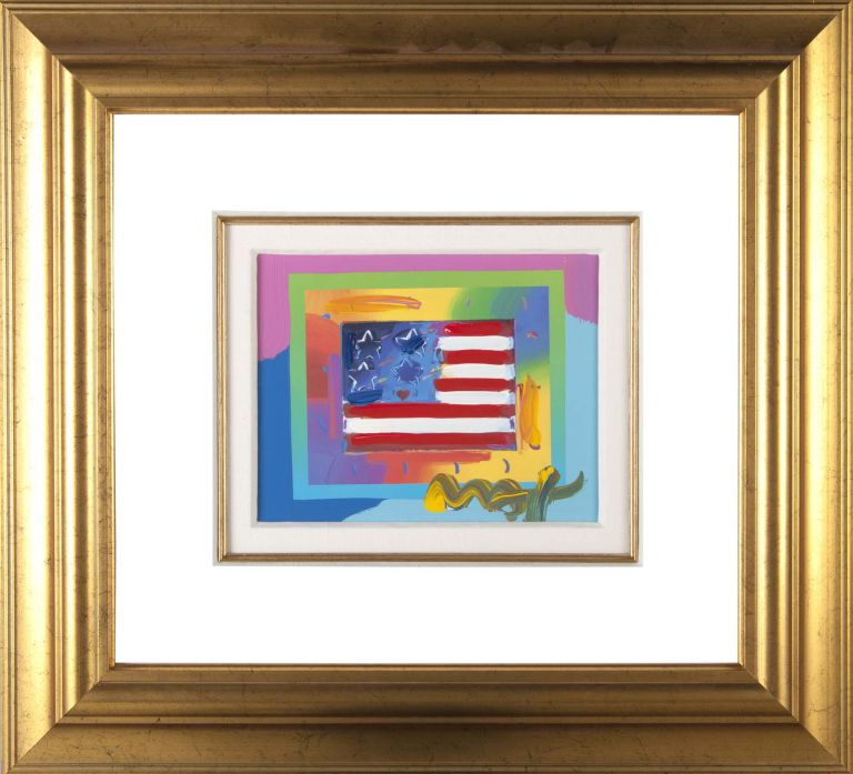 Flag with Heart on Blends - Horizontal. Peter Max.