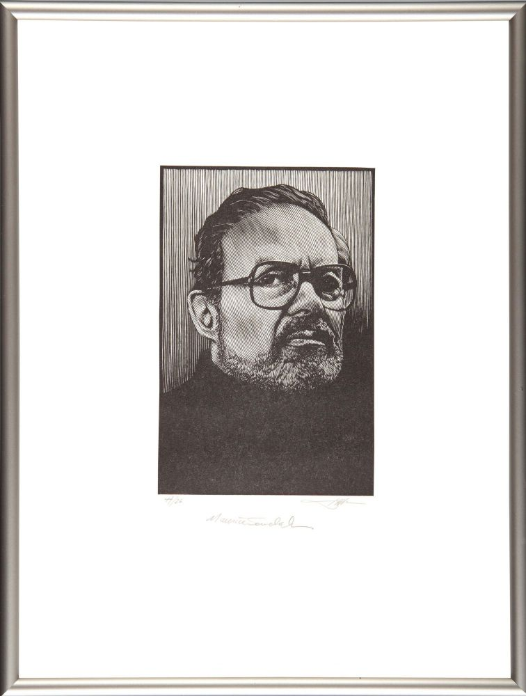Maurice Sendak: Portrait (Signed Framed). Barry Moser.