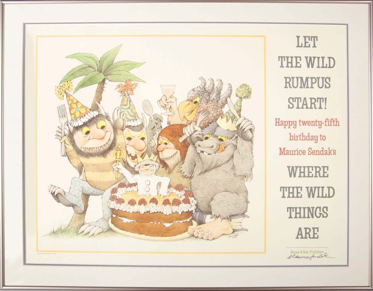 Where the Wild Things Are -- Happy 25th Birthday! (Signed Framed Poster). Maurce Sendak.
