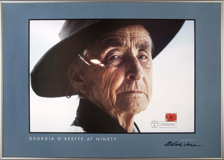 Georgia O'Keeffe at Ninety: Signed poster with original First Day Issue Stamp. Malcolm Varon.