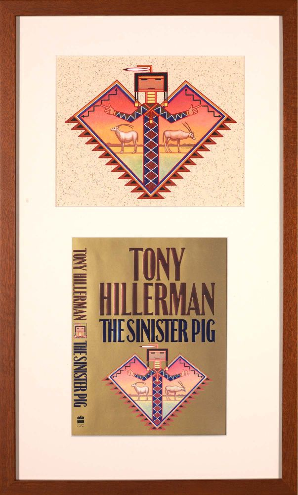 The Sinister Pig: Original Painting for the Cover plus the signed first edition [2 Items]. for Tony Hillerman Peter Thorpe.