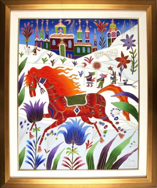 Red Horse In Winter [ORIGINAL OIL PAINTING, FRAMED]. Yuri Gorbachev.