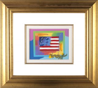 Flag with Heart on Blends - Horizontal. Peter Max