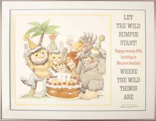 Where the Wild Things Are -- Happy 25th Birthday! (Signed Framed Poster). Maurce Sendak