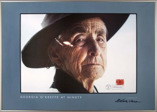 Georgia O'Keeffe at Ninety: Signed poster with original First Day Issue Stamp. Malcolm Varon