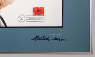Georgia O'Keeffe at Ninety: Signed poster with original First Day Issue Stamp